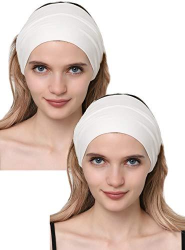 Deresina Headwear Baumwolle Stirnband für Dammen Frauen (Cremefarben - 2 pcs)
