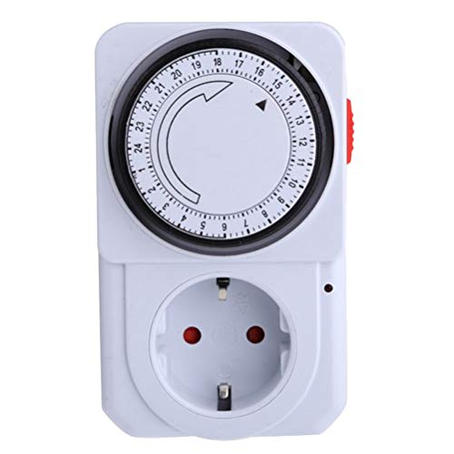 vosarea–Temporizador mecánico analógico 24horas temporizador programable enchufe temporizador diarios mecánicos (para lámparas de exterior (enchufe de la UE)