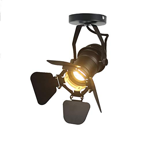 XIHOME Black Cool Industrial Vintage Style 220V Semi Flush Mount Single Adjustable Ceiling Light/Wall Spotlight with 4 Adjustable Beam Angle Leaves(E27 Spot Light Bulb Not Included)