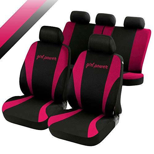 rmg-distribuzione Coprisedili compatibili per Fiesta Versione (2008-2012 (VI)) compatibili con sedili con airbag, bracciolo Laterale, sedili Posteriori sdoppiabili, Neri Rosa Fucsia R03S0209