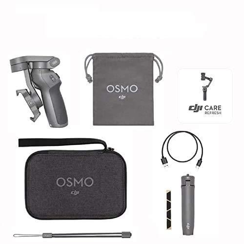 DJI Osmo Mobile 3 Prime Combo - Kit Estabilizador de 3 Ejes con Care Refresh, Compatible con Smartphone, iPhone y Android, Diseño Portátil, Grabación Estable, Control Inteligente de Trípode, Gris