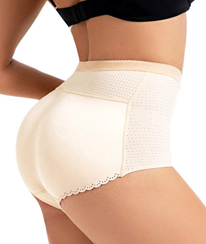 NINGMI Women Butt Lifter Shapewear Briefs Seamless Padded Hip Enhancer Underwear (Apricot, Large)
