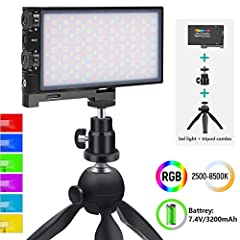 【RGB Light+Mini Tripod Combo】Comes with one RGB Video Light and one Mini Tripod,No camera needed,easy to use the video light,360°Full color with 4 modes 12 different lighting scenes are availble for your colorful photography.Place on a surface or tab...