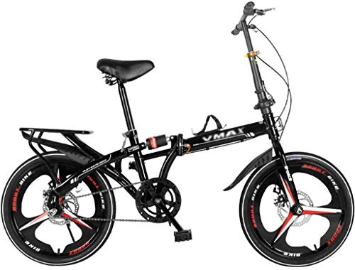 ZGQA-GQA Niños Plegables Bicicleta Masculina y Femenina Bicicleta de Carretera for Estudiantes Montando Bicicleta ultraligería portátil Velocidad Velocidad Doble Disco Freno Amortiguador Bicicleta 20