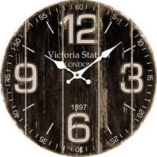 Round Dark Brown And Black Victoria Station London Decorative Clock 13 X 13 Inches Quartz Movement 93