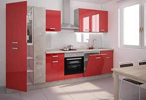 Küche Tom 310 cm Küchenzeile Küchenblock Einbauküche Hochglanz Rot + Betonoptik