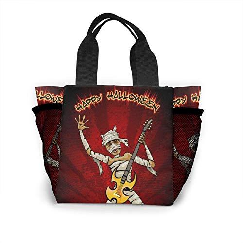 not applicable Halloween-Grafik mit der Mama die Gitarre spielt Wiederverwendbare Einkaufstasche Ripstop-Polyester-Einkaufstasche oder Mittagstasche