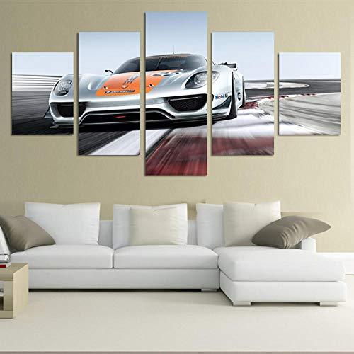 CVBGF Aangepast 5-delig canvasdoek JIE DO ART 5-paneels grijze sportwagen Grote HD decoratieve kunstprint schilderijen op canvas voor woonkamer muur