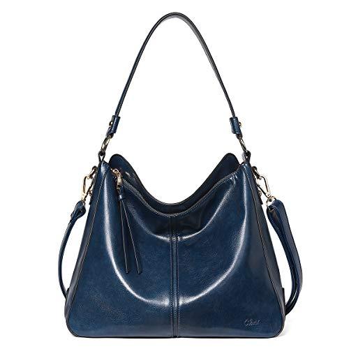 CLUCI - Bolso de mano para mujer, de piel, estilo hobo, de moda, para mujer, Cera de aceite azul, Grande
