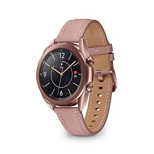 Samsung Galaxy Watch3 Smartwatch Bluetooth, cassa 41mm acciaio, cinturino pelle, Saturimetro, Rilevamento cadute, Monitoraggio sport, 48,2g, Batteria 247 mAh, IP68, Mystic Bronze [Versione Italiana]