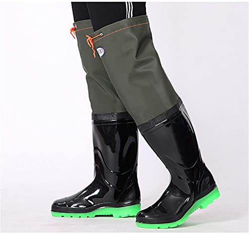 WUTRBYZ Light Non-Slip Wading Boots for Men Ladies, Super High 60Cm Waders Shoe with Elastic Shrinkage, PVC/Nylon Waterproof Wattaboses Rubber Boots 36-45,Black,45 EU