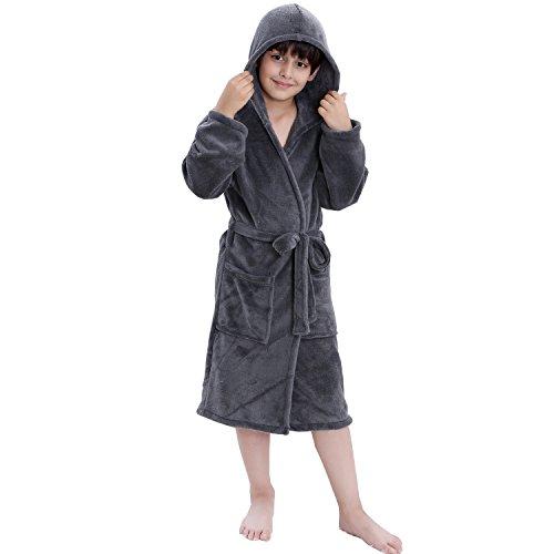 COSMOZ Kinder Bademantel mit Kapuze für Mädchen und Jungen - Super kuschelig und weich, Grau, 128 cm