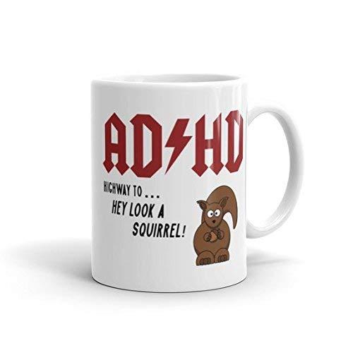 N\A Taza Divertida Taza de café ADHD Taza de café Divertida Taza de café ADHD Regalo para él Regalo para Ella Taza ACDC Regalo ACDC Taza hilarante Meme
