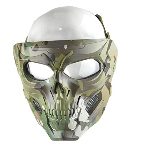 JFFCESTORE Tactical Mask and Fast Helmet,Protective Full Face Clear Goggle Skull mask Dual Mode Wearing Design Adjustable Strap One Size fits All (Mask Camo)