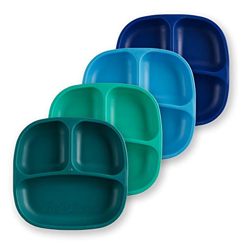 Re-Play Made in USA 4pk Divided Deep Walled Plates in Teal, Aqua, Sky and Navy Blue | Made from Eco Friendly Heavyweight Recycled Milk Jugs - Virtually Indestructible (True Blue+)