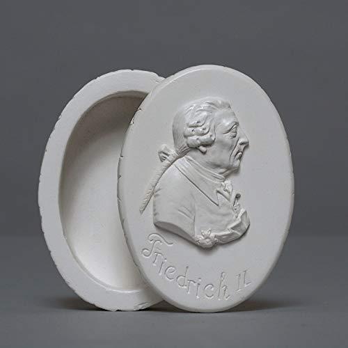 SMP Lata Friedrich el Gran, Edad Fritz zellan, Artesanal Fabricado en Alemania, almacenar Regalo Idea Joyas Deko, Color Blanco, 8cm
