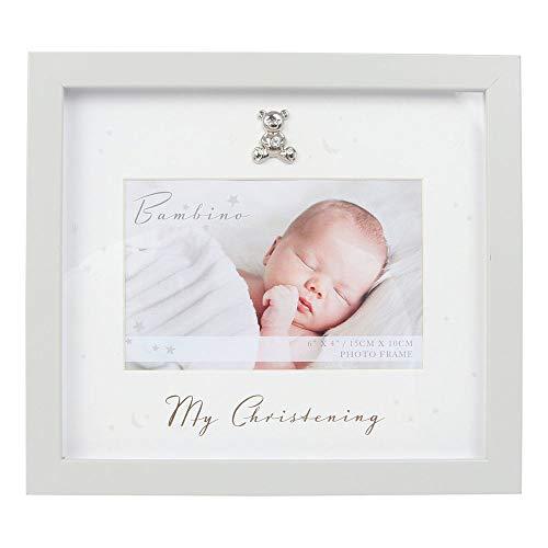 Juliana Bambino - Marco de fotos unisex de madera gris para bautizo, 15,24 x 10,16 cm
