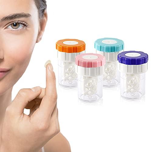 4 máquinas limpiadoras de lentes de contacto, lavadoras de lentes de contacto manuales y portátiles para el cuidado diario de la visión, estuches de limpieza para lentes de contacto blandas