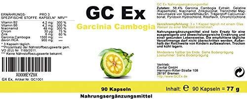 GC Ex, 1500 mg Garcinia Cambogia Extrakt, 90 Kapseln in Premiumqualität, hochdosiert, 100% natürlich 1er Pack (1x 77g) - 7