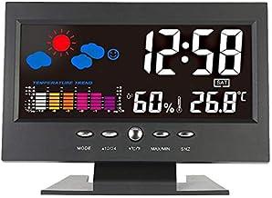Termómetro Higrómetro LCD Indoor Digital Termómetro Higrómetro Reloj despertador Calendario Estación meteorológica Desk Reloj Temperatura Humedad Meter Barómetro Digital Termohigrómetro