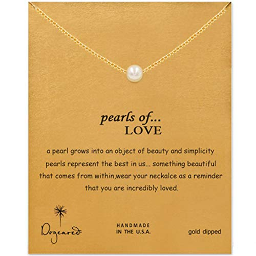 Kissherely Women Girls Choker Faux Pearl Pendant Necklace with Message Card Charm Choker Good Luck Necklace Collar Chain Jewelry Accessories Gift,Gold