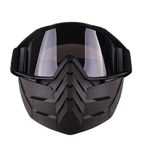Lsrryd Motorbike Goggles Afneembaar en Mond Filter voor Open Gezicht Helm Motocross Ski Snowboard Gezichtsmasker