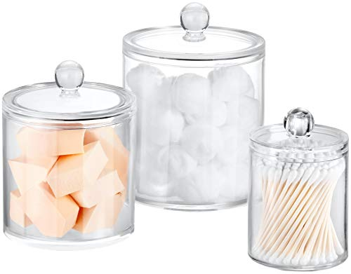 Bathroom Canisters 3 Pack, Acrylic Clear Qtip Holder Dispenser for Cotton Swabs/Cotton Balls/Cotton Rounds, Bathroom Accessories Apothecary Jars Vanity Organizer, 3 Sizes - 30oz/20oz/10oz
