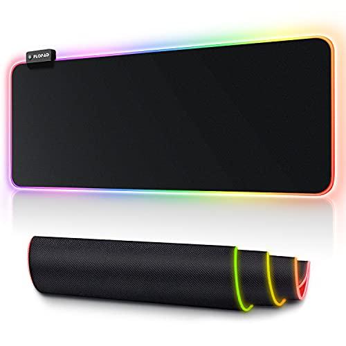 FLOPAD Gaming Mauspad XXL - RGB Mauspad 800 x 300 mm mit 14 Beleuchtungs-Modi, Rutschfester Gummibasis und Wasserdichter Oberfläche Tastatur Mouse Pad für Professionelle Gamer