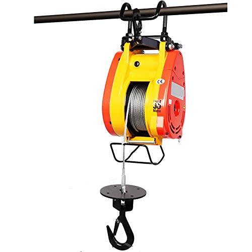 Mxmoonant 350lbs Electric Hoist Winch 1600W 19m/min Overhead Life Crane 24 Hour Continuous Working for Household Warehouse Factories Lifting (Wire Control+Remote Control, 661lbs/300kg)