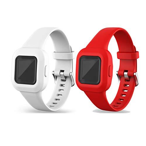 Ruentech Juego de 2 pulseras compatibles con Garmin Vivofit JR.3 Kids de silicona, pulsera de repuesto, color rojo y blanco