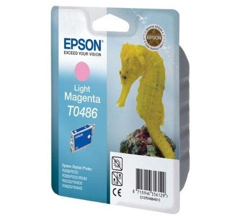 EPSON Tintenpatrone T048640 - Magenta Hell + Papier Goodway - 80 g / m2- A4 - 500 Blatt für Epson Stylus Photo RX 500, RX 600, RX 620, RX 640, R200, R300