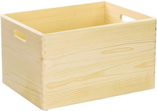 LAUBLUST Große Holzkiste mit Griffen - 40x30x24cm, Natur | Allzweck-Kiste aus Holz - Aufbewahrungskiste | Geschenk-Verpackung | Deko-Kiste zum Basteln | Spielzeug-Kasten | Küchen-Box