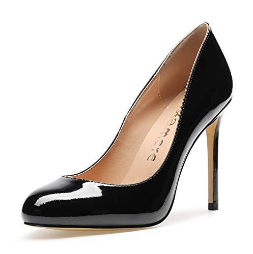 CASTAMERE Damen High Heels Runde Zehen Elegant Partie Pumps Stilettos 10CM Lackleder Schwarz Schuhe EU 44