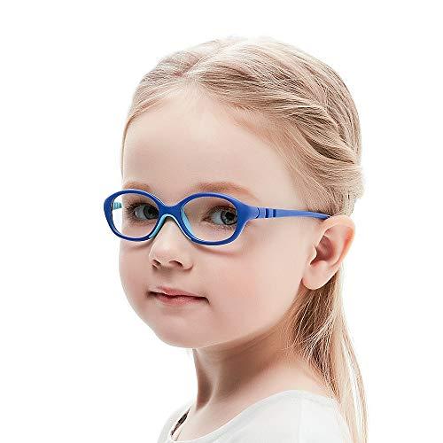 Unzerbrechlich biegsam Kinder Kids Brille Teenager Gestell Rahmen Fassung grau und rosa Gläser klar, oval schick für Mädchen (Alter2-5 Jahre) (WK12 C7 Blue)