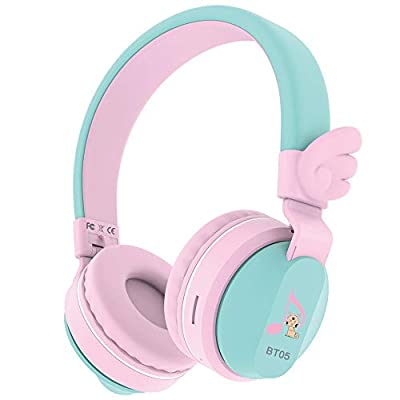 Headphones, Riwbox BT05 Wings Kids Headphones Wireless Bluetooth Over Ear 85dB/103db Volume Control Children Foldable Headphones with Mic/TF Card Compatible with Tablet/Smartphone/School (Pink&Green) by Riwbox