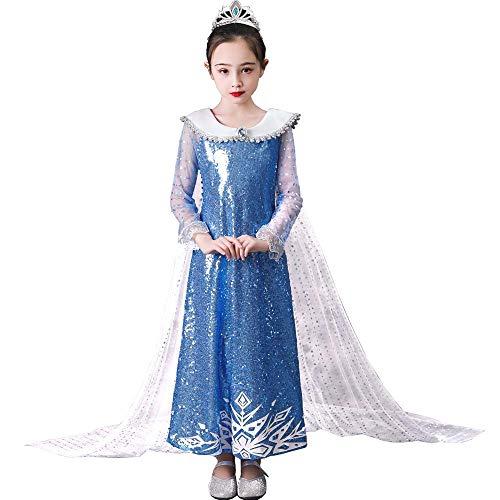 Lito Angels Disfraz de princesa de hielo de Elsa para nias pequeas, vestido de lentejuelas con capa de edad 12 aos azul 279