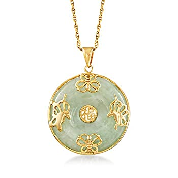 Ross-Simons Jade Good Fortune  Butterfly Pendant Necklace in 18kt Gold Over Sterling 18 inches