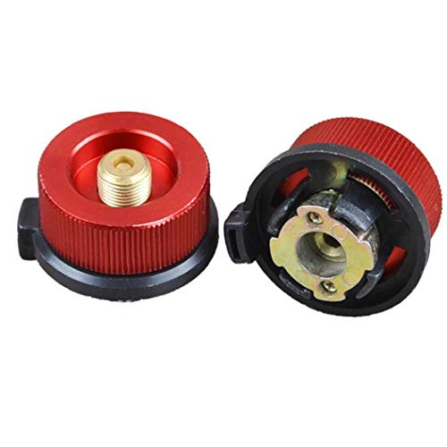 Botella de Gas Adaptador de Conector de Tornillo Estufa de Gas Cartucho de Cabezal de conversión Boquilla Tipo de Botella de butano 2pcs Frasco Rojas