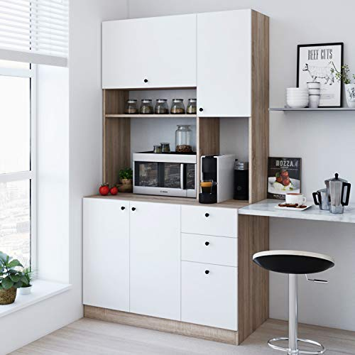 Living Skog Large Kitchen Storage Cabinet – Kitchen Cabinet with Extended Storage Space and Microwave Cart – Pantry Cabinet with Drawers – Kitchen and Pantry Cabinet – Smart Storage Kitchen Furniture