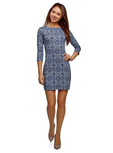 oodji Ultra Damen Kleid mit Metall-Deko auf den Schultern, Blau, DE 38 / EU 40 / M