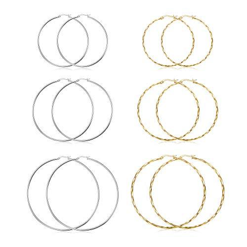 Hanpabum Big Hoop Earrings Set Stainless Steel Big Hoop Earrings for Women Twisted Hoop Earrings Set 6 Pairs 2 Style 50MM.60MM.70MM Gold
