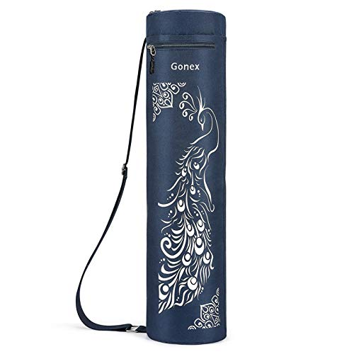 Gonex Yoga Mat Bag, Yoga Mat Carrier Full-Zip Exercise Carry Bag for Women Men with 2 Multi-Functional Cargo Pockets Extra Wide Adjustable Shoulder Strap, Peacock Dark Blue