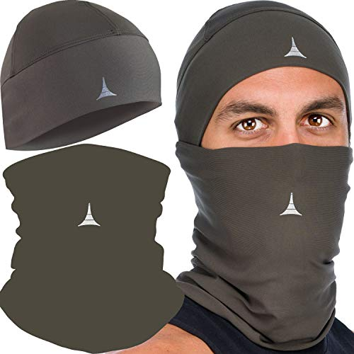 Cooling Face Mask Bandana + Helmet Liner Skull Cap Beanie Anti Dust, Wind & Cycling Pack Summer Kaki