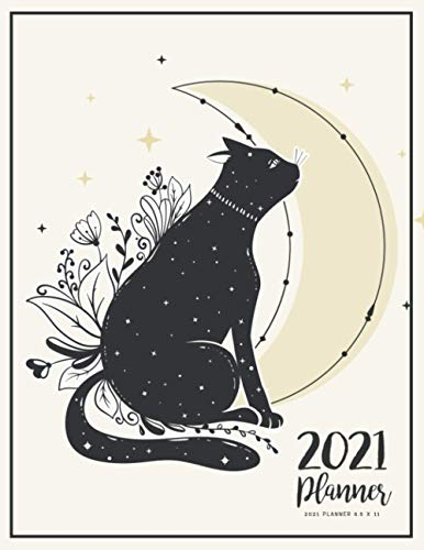 2021 Planner 8.5 x 11: Calendar Schedule Organizer With Holidays For To Do List Academic And Journal Notebook | Cat Amd The Moon Style (Daily Weekly Monthly Calendar Planners With Holidays, Band 10)
