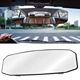 Wontolf 12'' Rear view Mirror Wide Angle Car Rearview Mirror Panoramic Interior Clip On Universal Convex Curve Rear View Mirror No Blind Spot for Car SUV Truck 12''(300mm)