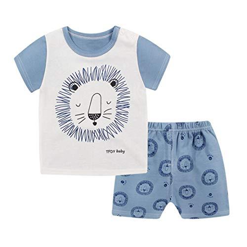 Sommer Baby Schlafanzug Baumwolle Jungen Zweiteiler Pyjama Kurz Tshirt und Shorts Set Kurzarm Cartoon Tierdruck Sleepwear Pajama Unisex