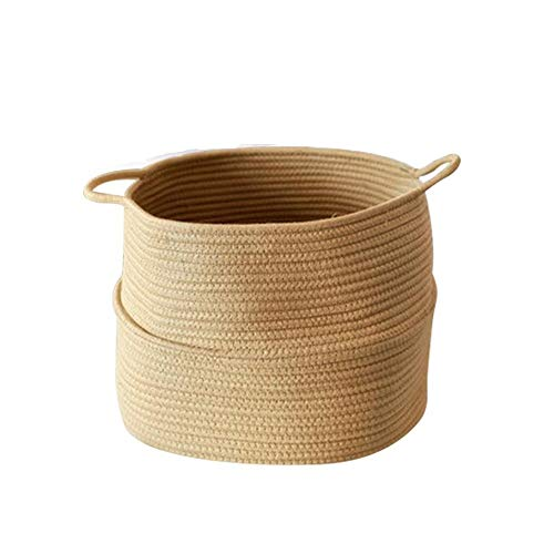 YHMY Handmade Products Cotton Rope Basket with Handle for Baby Laundry Basket Toy Storage Blanket Storage Soft Storage Bins- Natural Woven Basket for Wall Home Decor Over Headboard, Bedroom