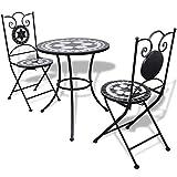 mewmewcat Tischgruppe Tischgruppe Mosaiktisch Bistrotisch mit 2 Stühlen Schwarz und Weiß