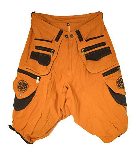ImZauberwald braune Goa Shorts mit Blume des Lebens in schwarz - Kurze Hose mit vielen Taschen - Grössenverstellbar Dank Zwei Knöpfen - gemütlich und praktisch, M