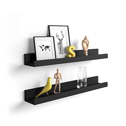 MOBILI FIVER, Par de estantes para Cuadros, Modelo First, 80 cm, Color Madera Negra, Aglomerado y Melamina, Made in Italy